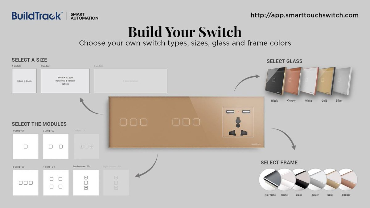 BuildTrack Switches can be mixed and matched to provide a variety of elegant combinations to enhance every ambience http://app.smarttouchswitch.com/ #BuildTrack #SmartApp #SmartAutomation #IoT #SmartFeatures #Technologies #ElegantCombinations #SmartTouchSwitch #BuildYourSwitchpic.twitter.com/XOTNkMatRF