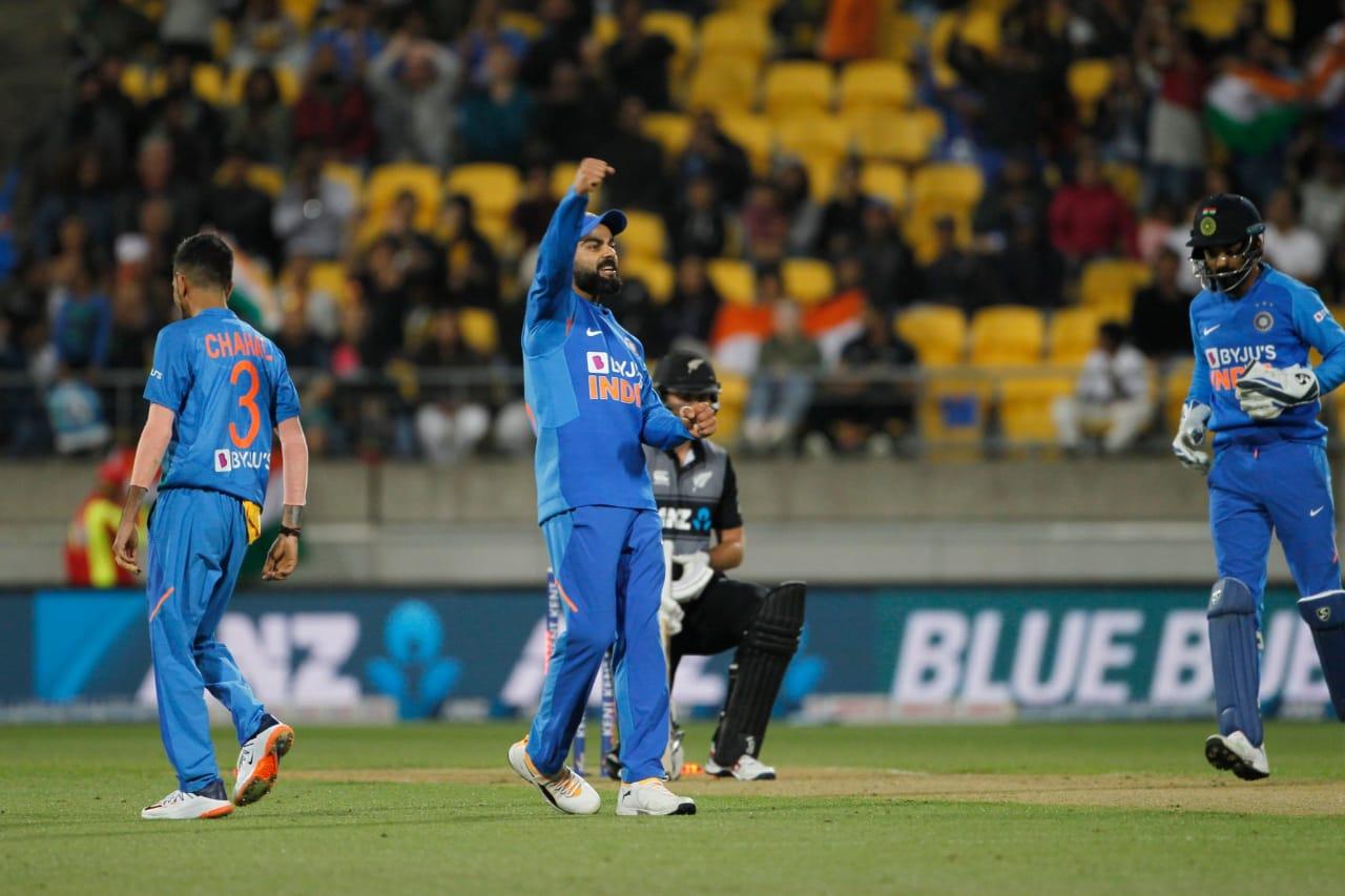 Virat Kohli celebrates a wicket during an ODI match against New Zealand. (Credits: Twitter/ Virat Kohli)