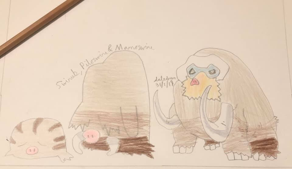 Throwback to this day last year when I drew my fav ice type Pokémon family; Swinub, Piloswine and Mamoswine!!  #geoartattack #throwbackdrawing #art #drawing #colouring #freehanddrawing #artwork #artist #ArtistOnTwitter #anime #pokemondrawing #swinub #piloswine #mamoswine https://t.co/6fL0snPBFv