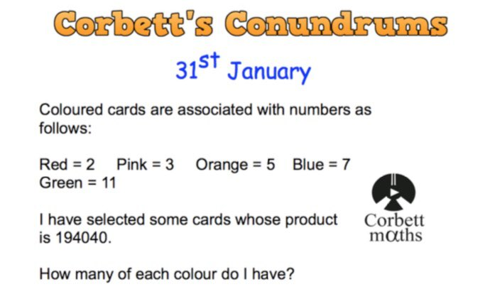 Love maths puzzles? Try today's Conundrum from corbettmaths.com #corbett5aday #maths5aday