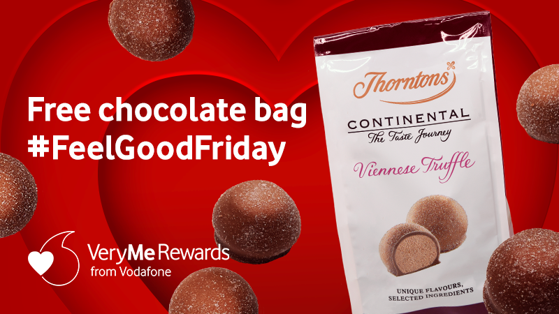 """Vodafone UK on Twitter: """"Happy #FeelGoodFriday! Grab a free chocolate bag  at Thorntons, courtesy of #VeryMeRewards ⬇️ https://t.co/TbLIoM6UEY Ts&Cs  apply.… https://t.co/TMH9t93voo"""""""
