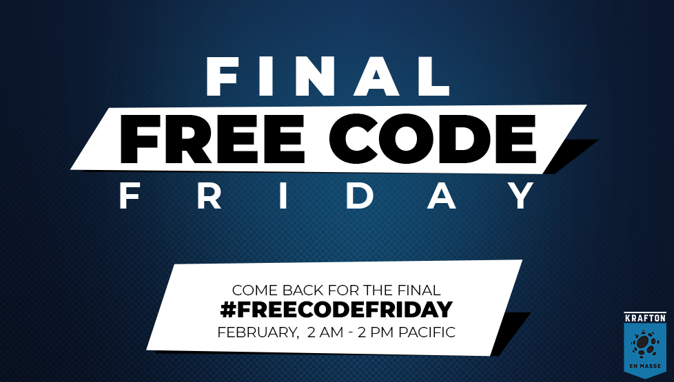 The final Free Code Friday is coming! We're taking a break on this weeks Free Code Friday, but we'll be back next week on February 7 with a fabulous new prize. Don't forgot to follow us right here for your chance! https://t.co/lebLq89ZXV