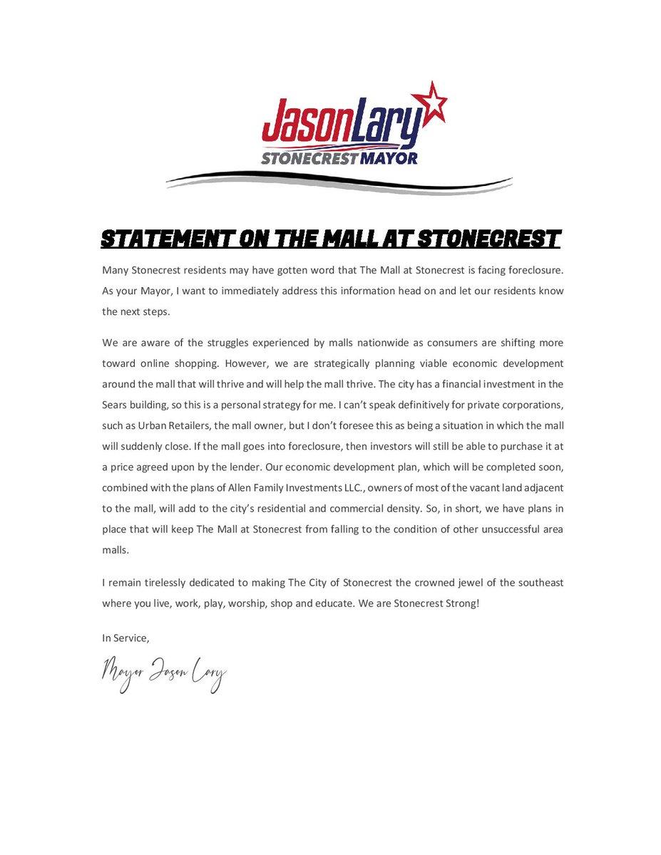 #StonecrestStrong #MayorLary