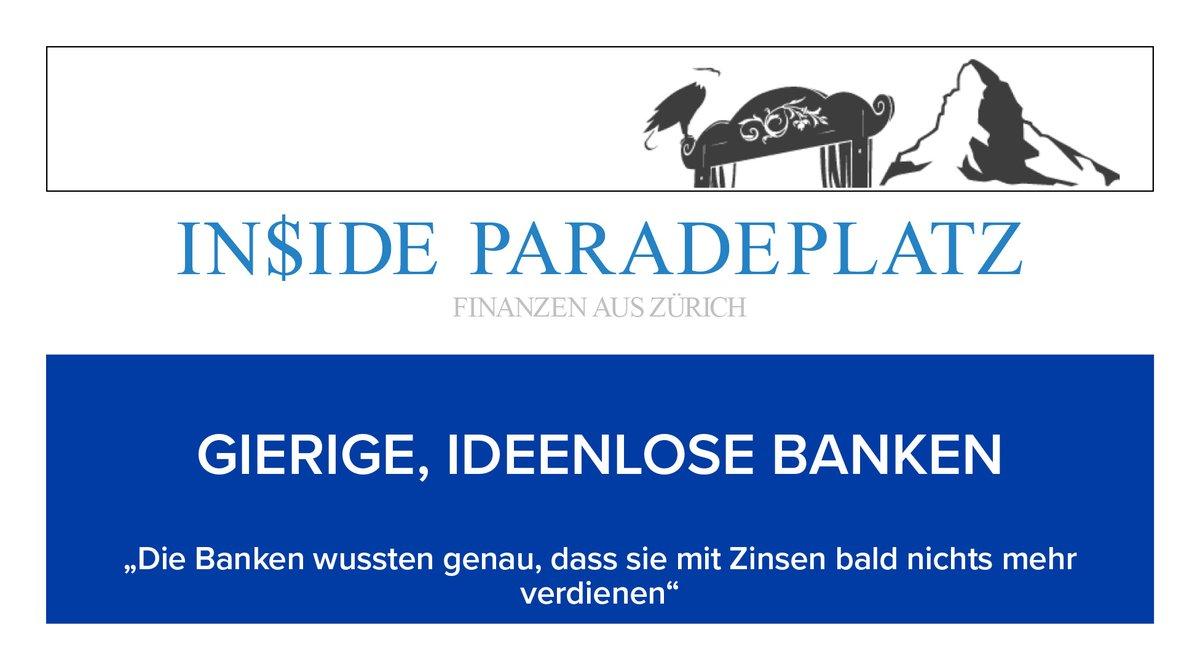 """GIERIGE, IDEENLOSE BANKEN  """"Die Banken wussten genau, dass sie mit Zinsen bald nichts mehr verdienen""""  https://t.co/m1kWs9EZh1  #insideparadeplatz #zürich  #paradeplatz  #Finanzen #Gierig #Gier #startv #Ideenlos #Link #Banken #Investieren #sparen #geld #verdienen #lohn #money #CH https://t.co/16XHUia5GT"""