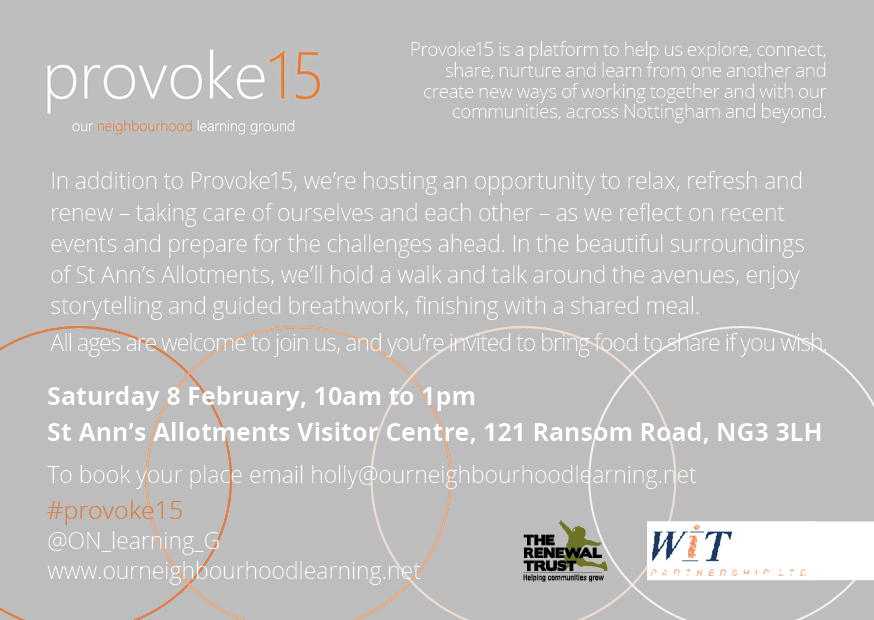 Join us on Sat 8 Feb 10-1 at @stannsallotment for Renew20: An opportunity to relax, refresh and reflect through walking, storytelling, guided breathwork and sharing food https://t.co/v73UoqhXdQ #Nottingham #free #Provoke15 https://t.co/lGdmgYb9gK