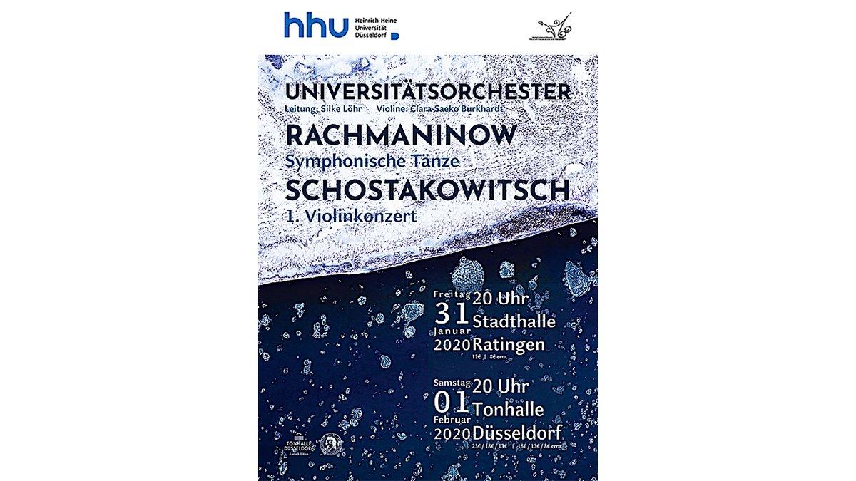 Heute #Stadthalle Ratingen, morgen #TonhalleDüsseldorf: Für d. Winterkonzerte 2020 v. #HHU #Uniorchester sind noch Karten ab 8€ (erm.) erhältlich #Rachmaninow Symphonische Tänze, #Schostakowitsch 1. Violinkonzert, Ltg.: Silke Löhr #hhu #konzertedüsseldorf https://www.uni-duesseldorf.de/home/startseite/news-detailansicht-inkl-gb/article/winterkonzerte-vom-hhu-universitaetsorchester-mit-russischen-komponisten-dieses-wochenende.html…pic.twitter.com/pXvBvgT9Ya