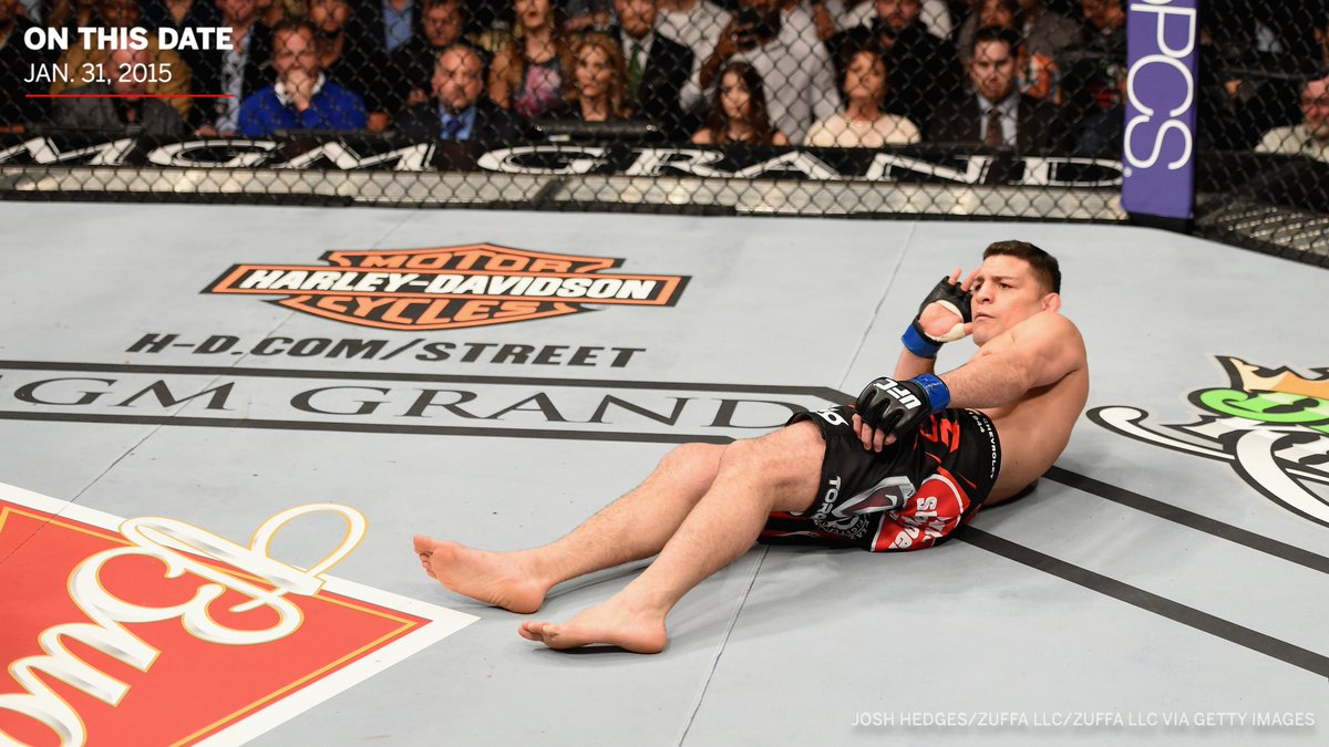 This fight against Anderson Silva at UFC 183 was the last time we saw Nick Diaz compete in MMA, but he left us with an iconic photo