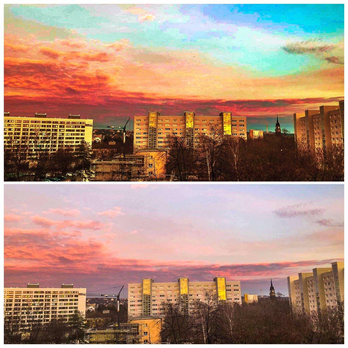 Zwei Fotos vom heutigen Abendhimmel #dresden #dresdenaltstadt #ostmoderne #sunset #wochenendepic.twitter.com/FgvZdSBZCd