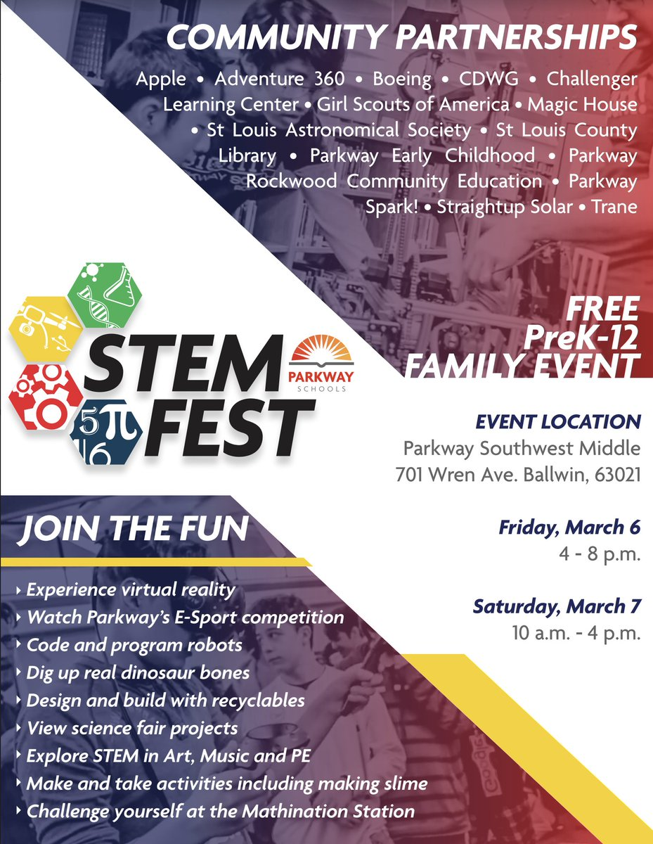 Mark your calendars! Join us for our STEM Fest on March 6 & 7! Details ⬇️⬇️⬇️