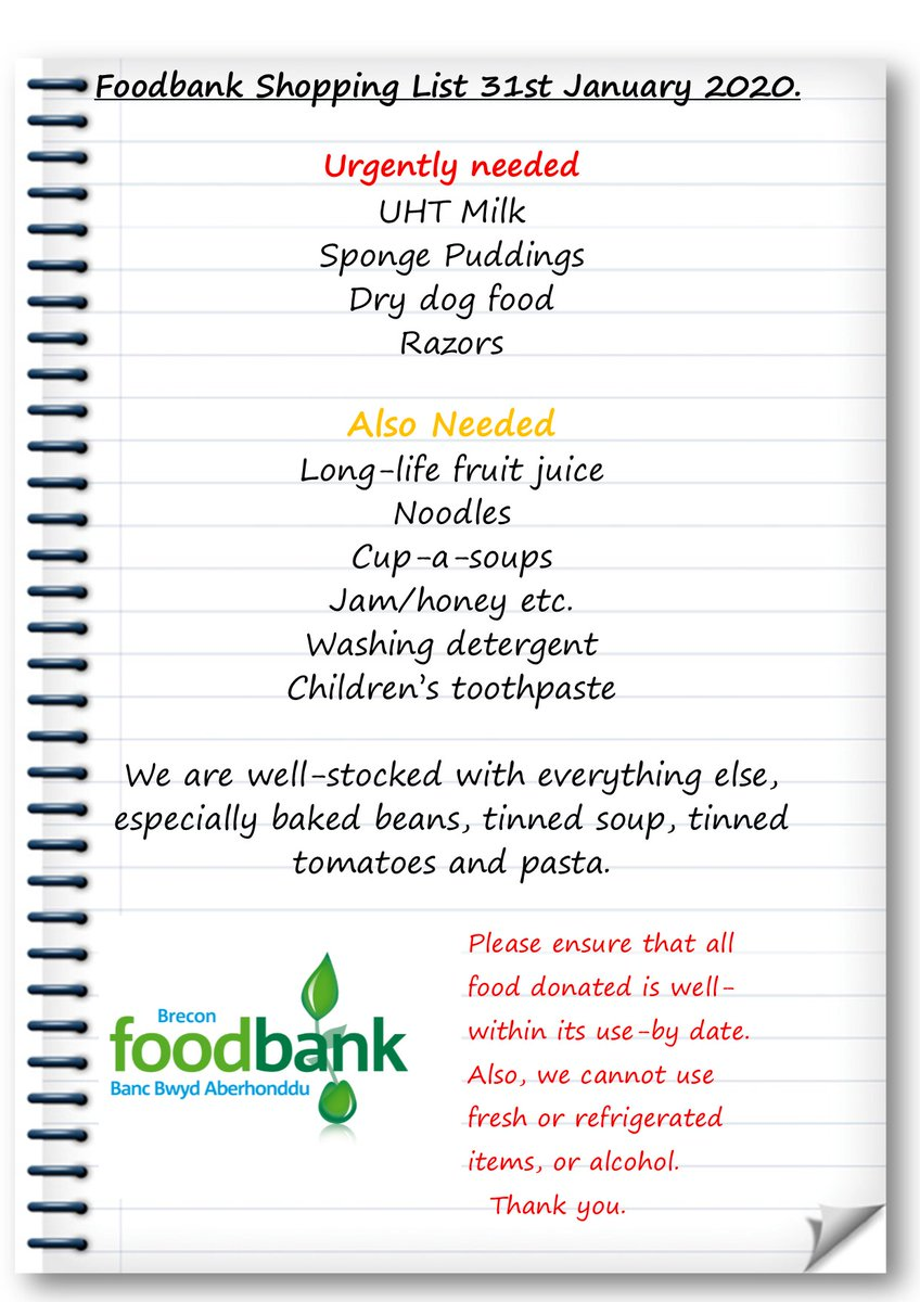 Here's our latest shopping list.
