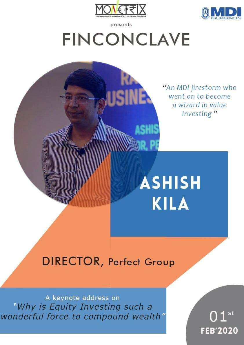 "You cannot know everything about it. But there is a lot to learn about it from a seasoned Director of the Perfect Group. Mark your calendars for the keynote speech by #MDI's very own @ashishkila on ""Why is equity investing such a wonderful force multiplier to compound wealth."""