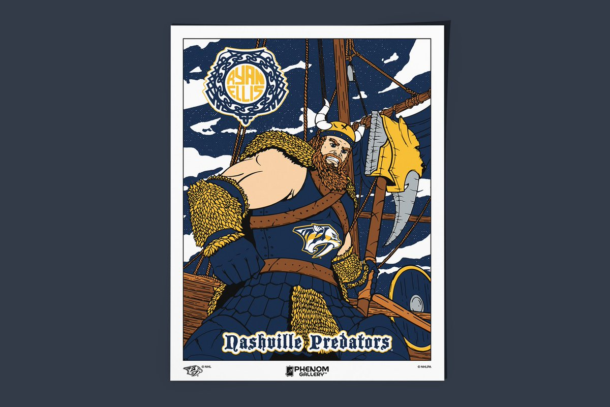 AZ x #Smashville – Check out this Ryan Ellis print I got to do with @PhenomGallery for the #Preds early this month  My first player-specific print 😬  Having sold out in the team store, I have 5 signed and numbered artist proof serigraphs available via