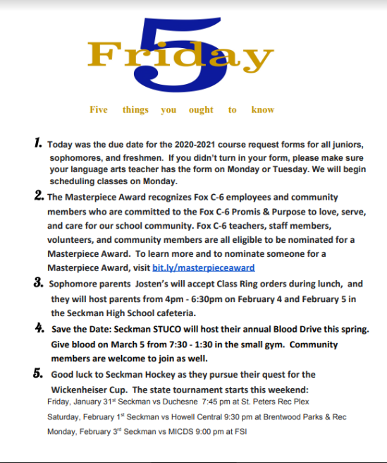 Happy Friday Seckman Community. Here is the FRIDAY FIVE from Principal Jeff Krutzsch: