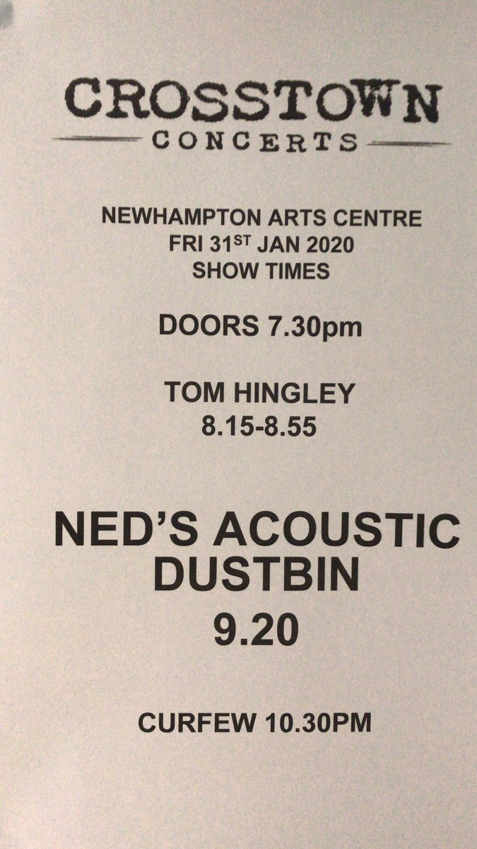 Showtimes tonight for @tomhingleymusic and @Nedsatomictweet #livemusic #Wolverhampton