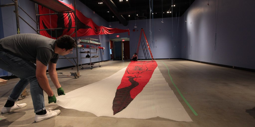 The banner hanging has begun!  Acts of Resistance opens to the public on Wednesday February 5, 2020 #AtMOV  Thank you to all the artists involved + @GreenpeaceCA for their support.  http://museumofvancouver.ca/acts-of-resistance…  #ResistanceAtMOV #IndigenousArt #IndigenousActivism pic.twitter.com/LnQq3dcyg4