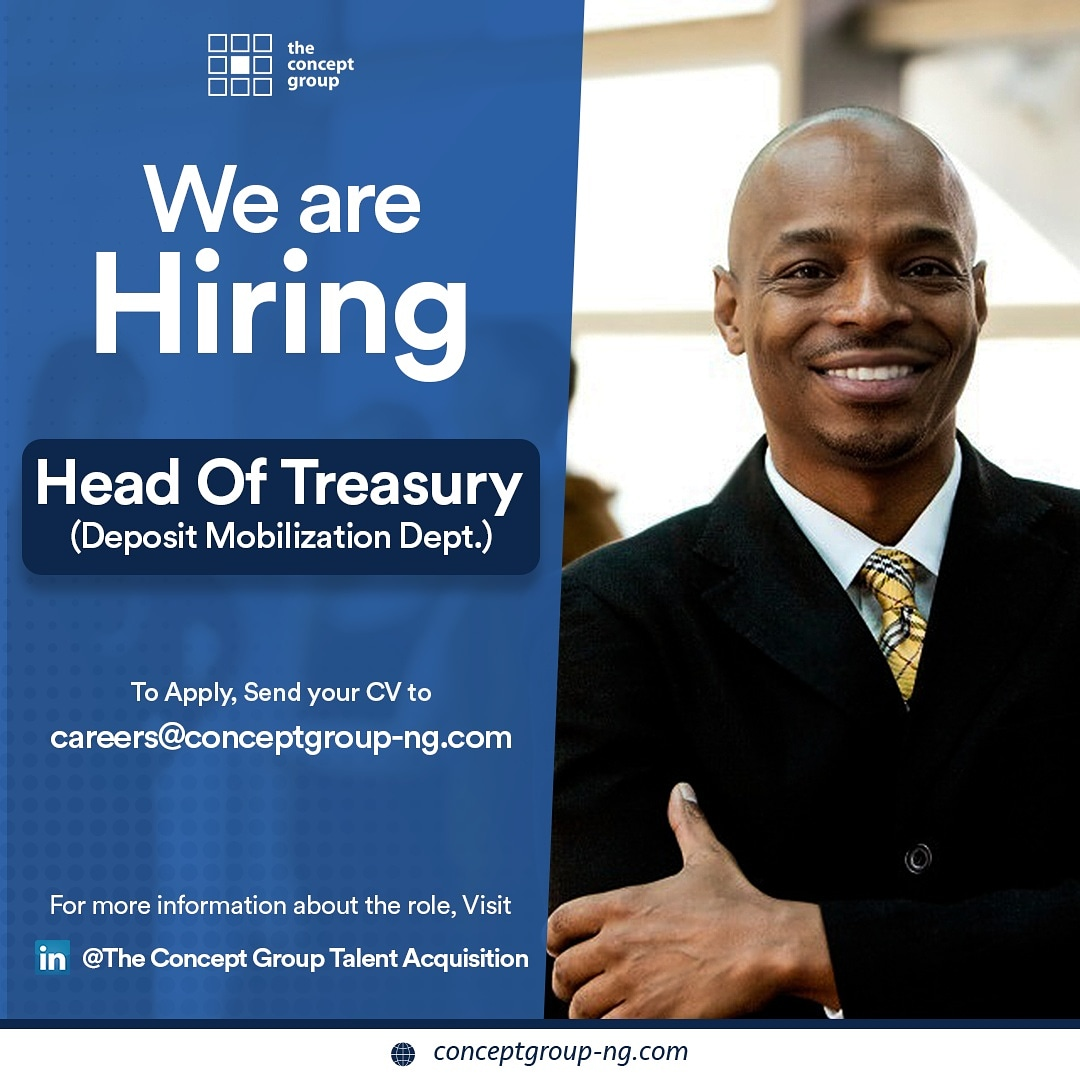 WE ARE #HIRING: 💰💰💰  HEAD OF TREASURY (DEPOSIT MOBILIZATION)  The Head of Treasury oversees and ensures proper and adequate inflow of liabilities in the company. He/she among other things will: (see thread below)  #HiringNow https://t.co/qi859Nr45o