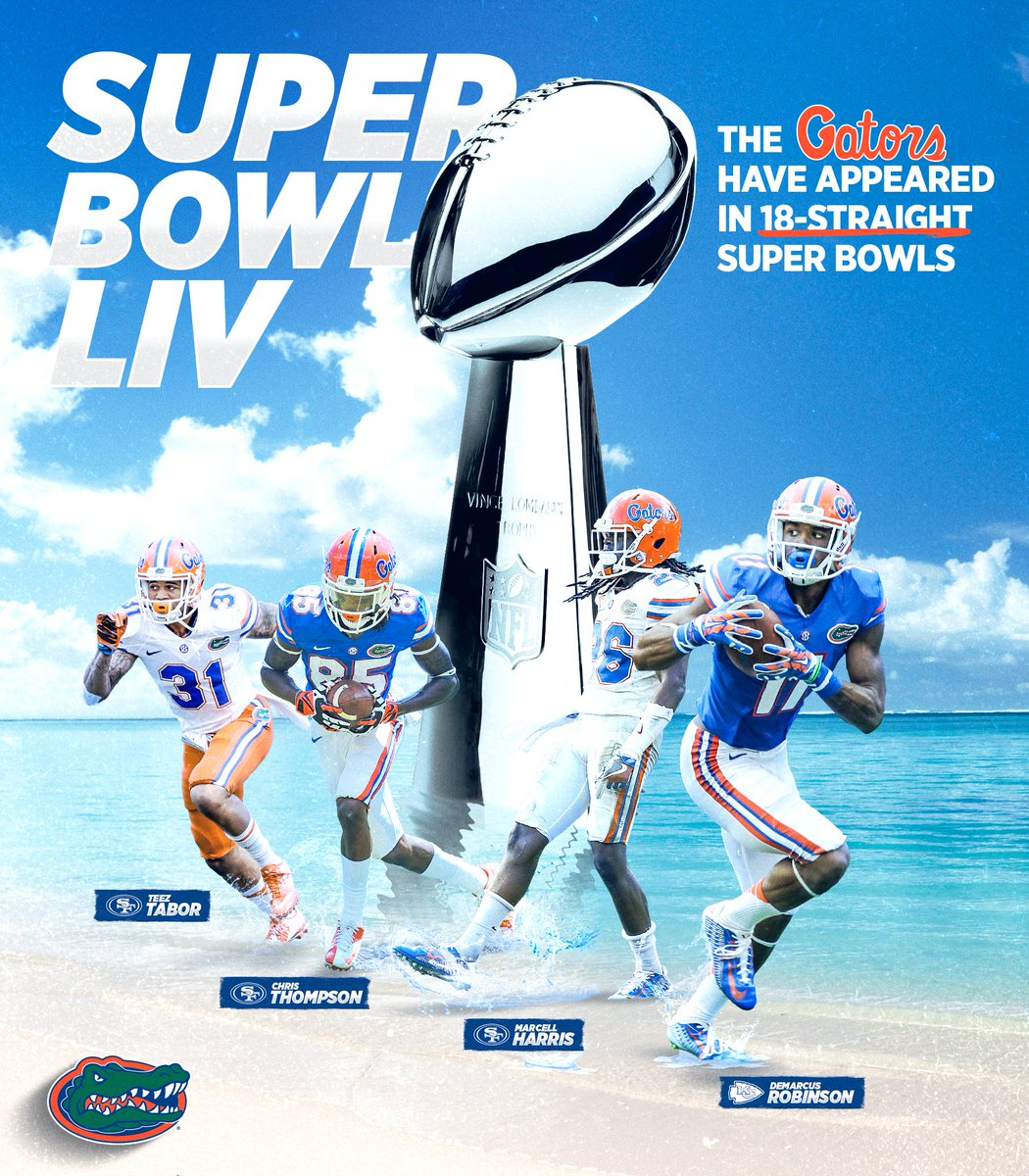 A few #Gators have a shot at earning a 💍 this Sunday. Who do you think brings home the hardware? #SuperBowlLIV x #GatorMade 🐊