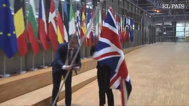 What a moment - the UK flag has just been taken down at the EU Council building in Brussels