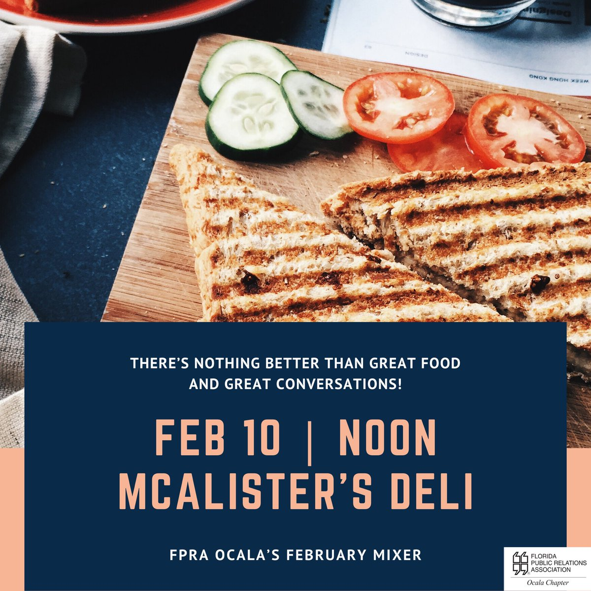 🚨Lunch Date Alert🚨 Join us for awesome food and convo at our next monthly mixer.  ⬇️  McAlister's Deli - Feb. 10 - noon - #monthlymixer #TransformFPRA #PurposeFPRA #FPRA #networking