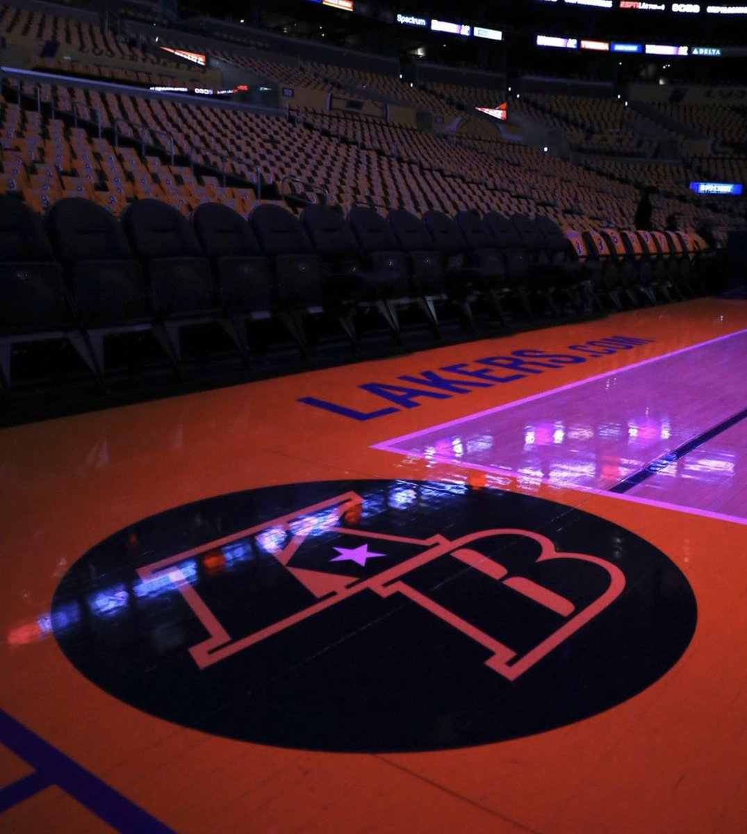 The Lakers added Kobe's numbers and a logo for tonight's game at Staples Center.