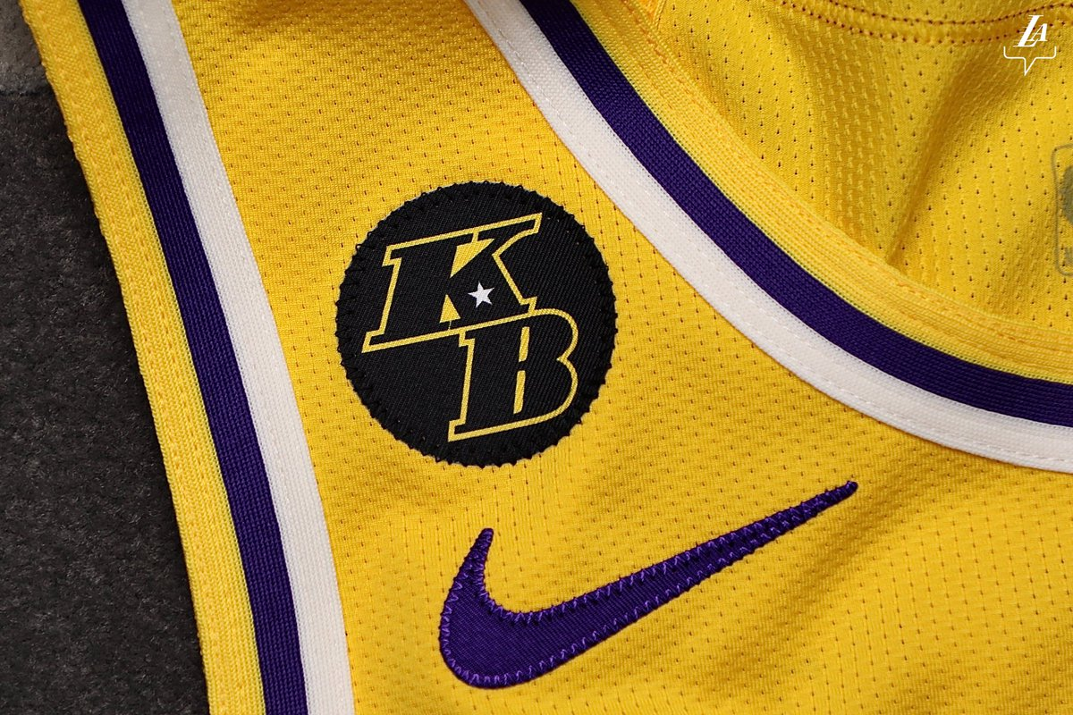 The Los Angeles Lakers' new jersey patch to honor the late Kobe Bryant.