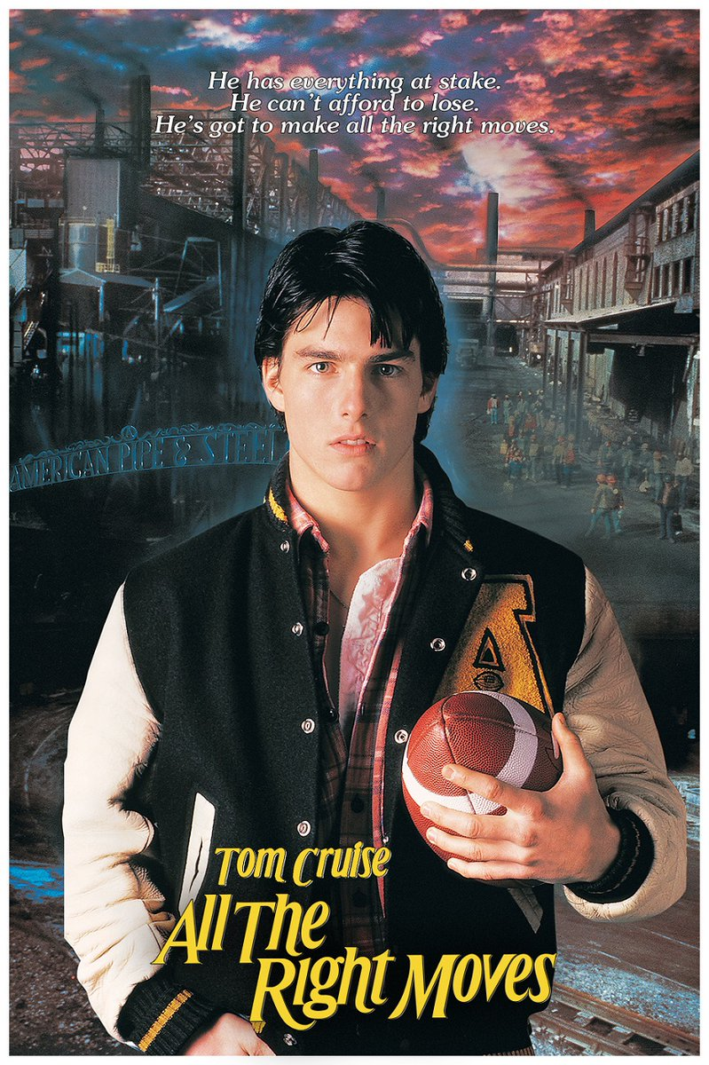 Our #SportsFlixFriday #POTD is a classic #football film with a very young @TomCruise & @LeaKThompson...1983's #AllTheRightMoves! Like the movie #Flashdance, this is about a #Steeltown boy who sees the only way out of his dying town is a scholarship. It's a great 80's #mustsee!pic.twitter.com/0qbedrhQaD