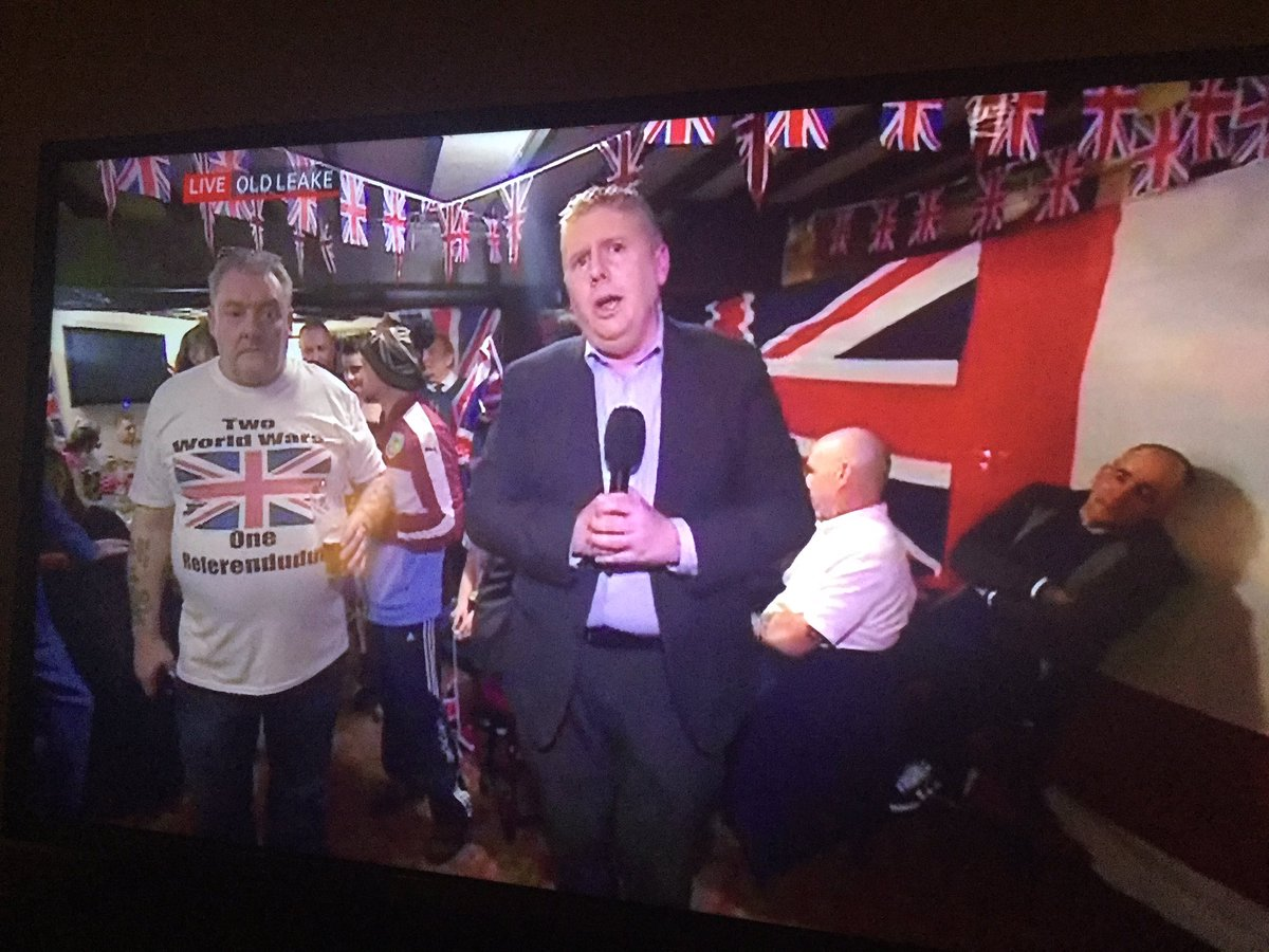 """Meanwhile in Lincolnshire the BBC have just interviewed a man wearing a t-shirt with the message """"Two World Wars One Referendudum"""" https://t.co/ohbe7DZ9p6"""