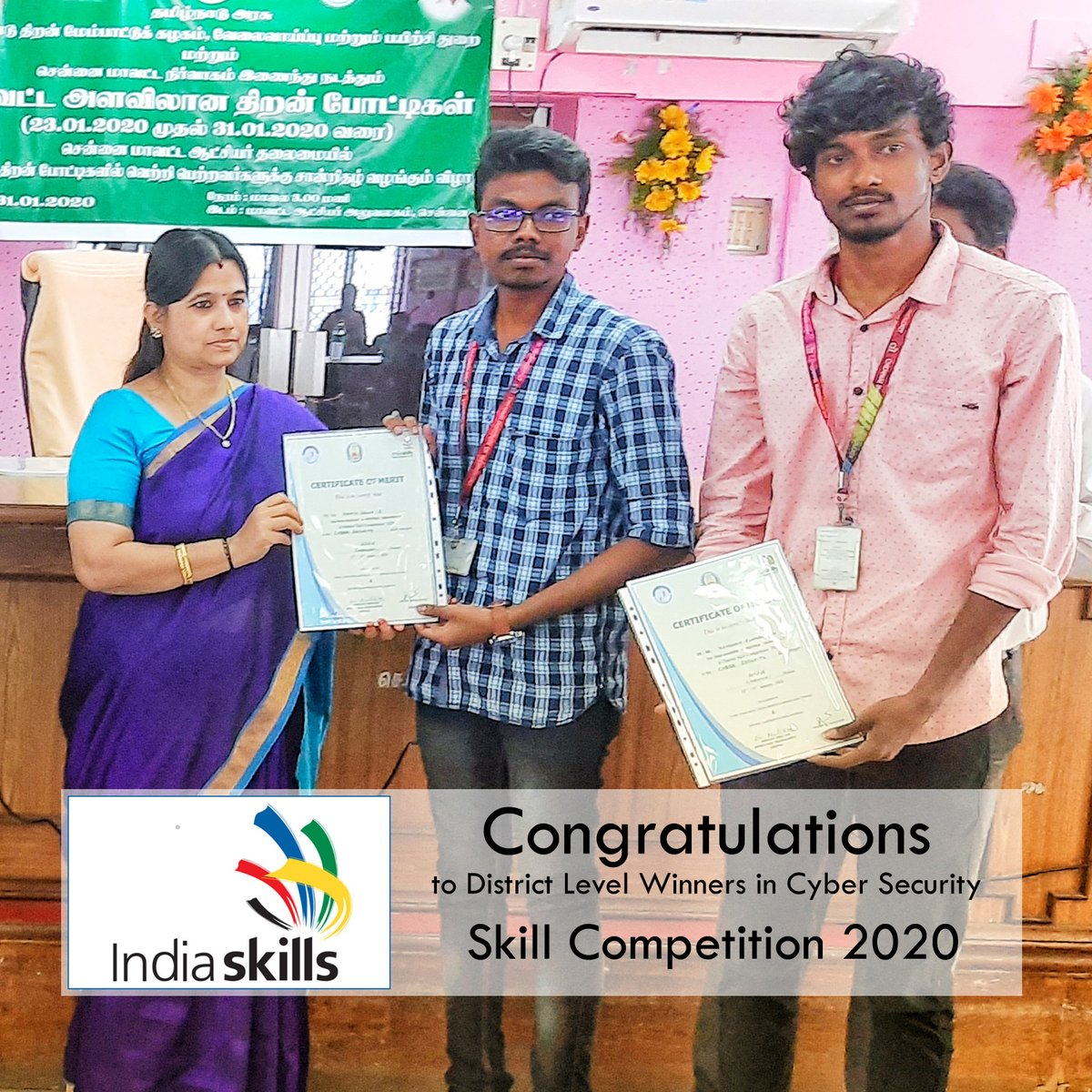 Congratulations to Mr.S.Vinith Selva of 4th Year CSE &  Kannan Elangovan of 4th Year CSE - the District Level Winners in Cyber Security Skill Competition 2020 #ChennaiInstituteOfTechnology #TransformingLives #Engineering #enjoyableCampusLife #HappyCampus #SkillCompetitionpic.twitter.com/OyAZrvoMNq