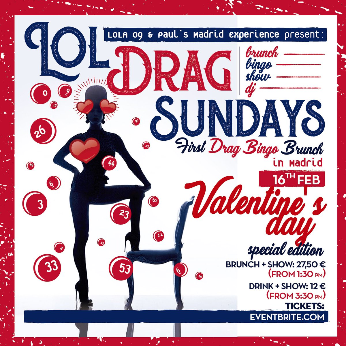 We're back! On Sunday February 16th #Madrid 's only Drag Queen Bingo Brunch brings you a Valentine Special @Lola09Madrid . With all your favorite Queens , including the fabulous @VaniaVainilla1 .  Tickets now on sale @ Eventbrite. https://t.co/86TYF9SCcL