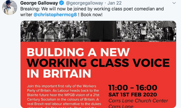 "Never Again on Twitter: ""1/5 Galloway's new political party ..."
