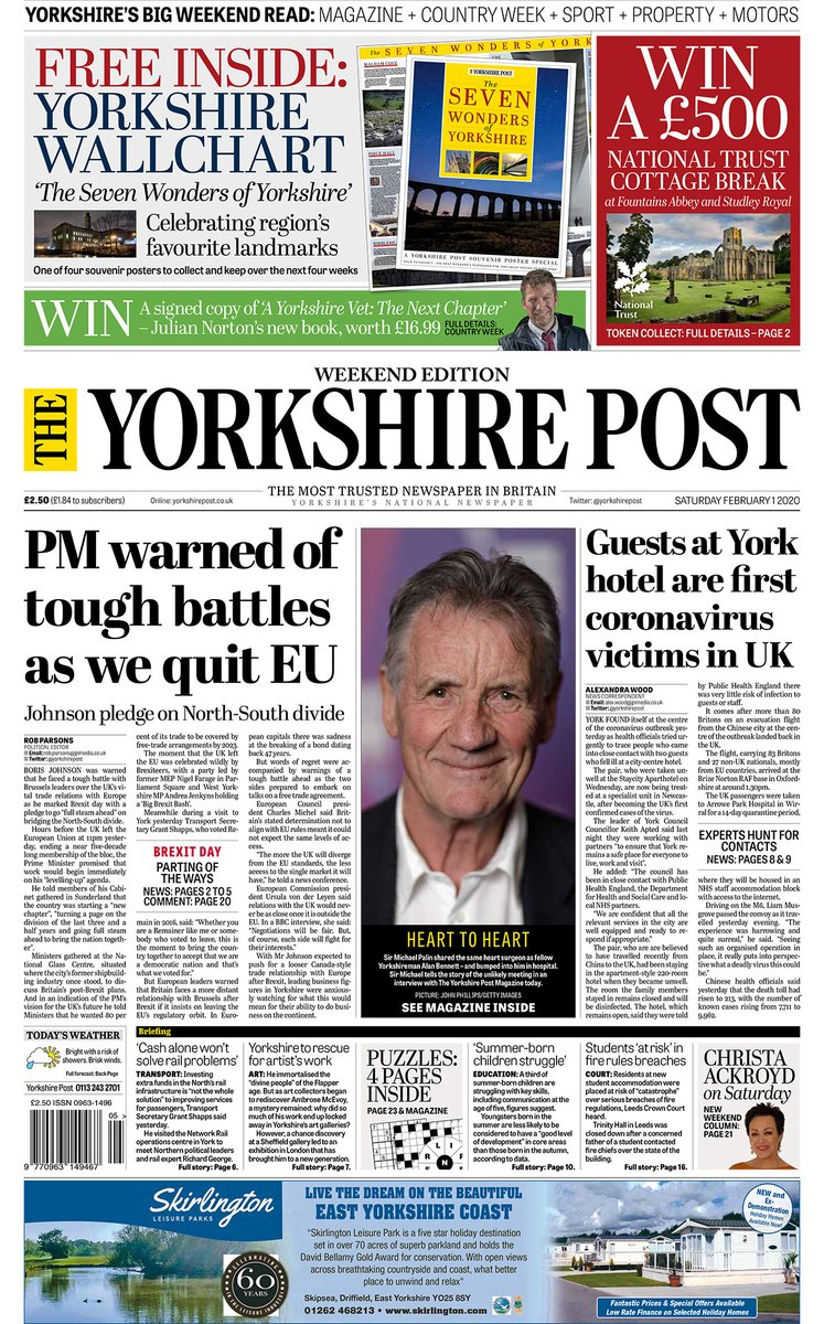 Quality journalism in one package - The Yorkshire Post weekend edition. Trusted news, opinion, business and sports coverage, 100-page Magazine, Country Week, Property Post and Motors. Plus a FREE #Yorkshire wallchart and your chance to WIN a £500 National Trust cottage break.