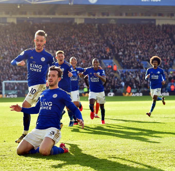 Ben Chilwell celebrates a goal during a match before Covid-19 pandemic. (Credits: Twitter/ Ben Chilwell)