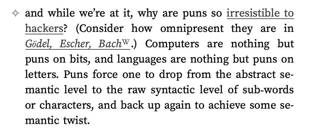 Gwern's theory of why puns are so irresistible to hackers