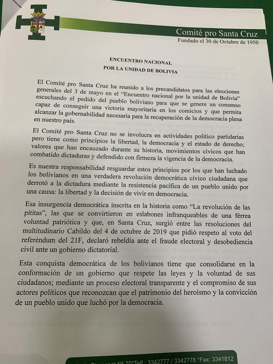 """ABI Bolivia auf Twitter: """"#Ultimo Lea el acuerdo que suscribieron los  candidatos presidenciales tras la denominada """"Cumbre de la Unidad""""  convocada por los cívicos cruceños.… https://t.co/YMHd0LEzub"""""""