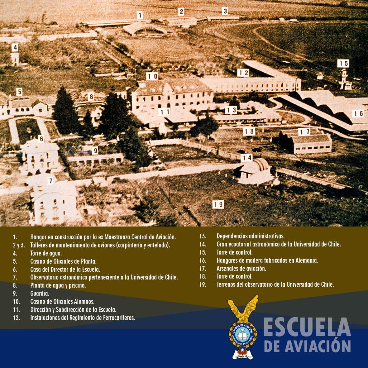 La Base Aérea El Bosque perteneció primero al @Ejercito_Chile y luego a la #FACh, estando por más de 100 años en la @munielbosque. Te dejamos una vista aérea de hace #90años con la distribución de las instalaciones de la @esc_aviacion en aquella época pic.twitter.com/lkr3DxTQsX