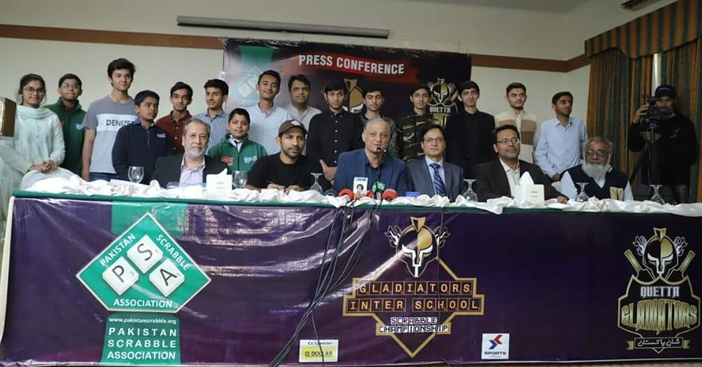 @SarfarazA_54 and Nadeem Omar at the press conference of @TeamQuetta Gladiators Inter-school #Scrabble Championship in collaboration with @pakscrabble to be held on 8th and 9th Feb, 2020 at the BVS Parsi School, Karachi. #pakistanscrabble #pakscrabble #cricket #sarfarazahmed https://t.co/6irbBEHPhH