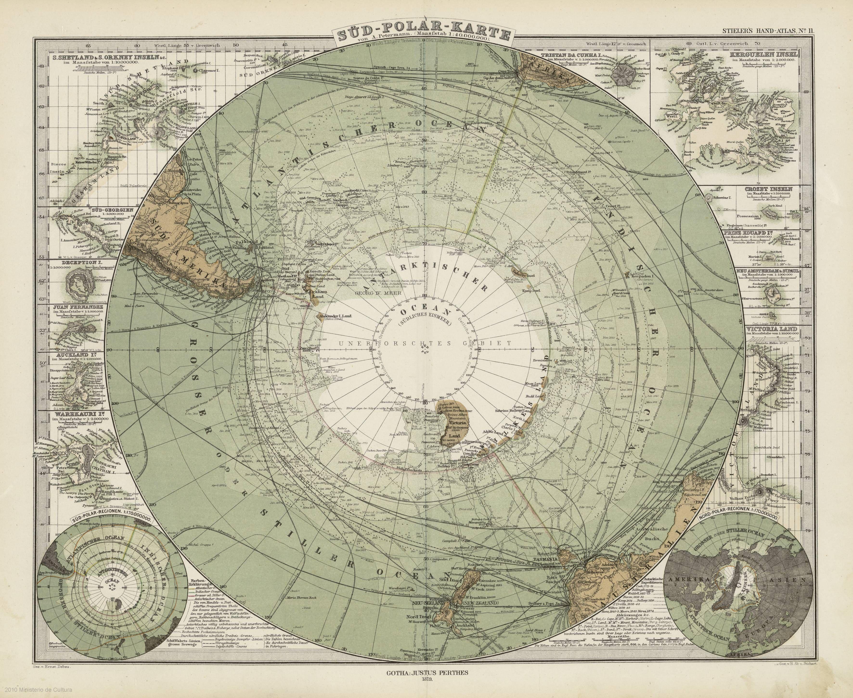 «Süd-Polar-Karte» por el cartógrafo y geógrafo von a. Petermann (1879)
