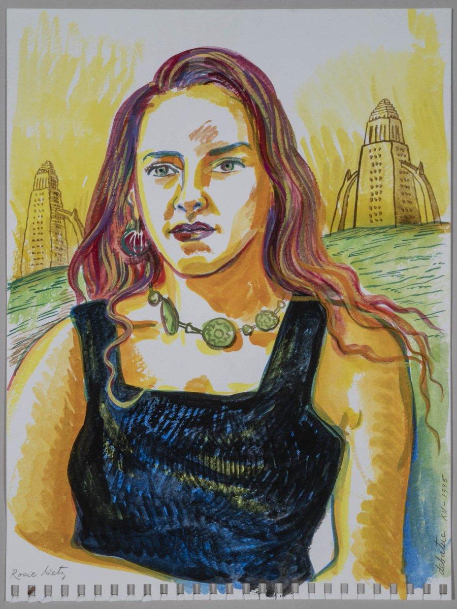 """Portrait of a Young Woman,"" 1995 © Alfredo de Batuc ""Retrato de una joven"" December 1995  Photo: Larry Underhill.  #watercolor #acuarela #aquarelle  #modelo #los_angeles  #portraitart #portraitartist #losangeles_city #losangeles_la #losangelescityhallbuildingpic.twitter.com/eqlFlOrb7K"