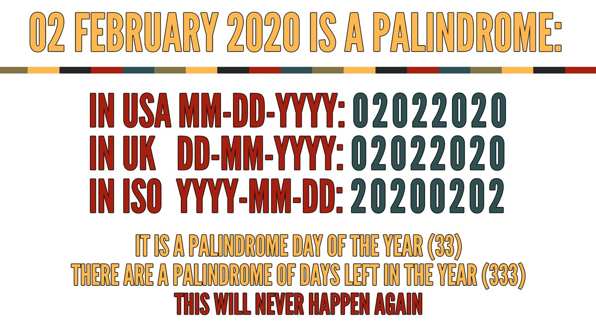 A lot of tweets about #PalindromeDay miss that 02 February 2020 is a palindrome in USA, UK and ISO formats; it is a palindrome day of the year (33) and there are a palindrome of days left in the year (333). This will never happen again. More details here: youtu.be/4fE_sXZjxng