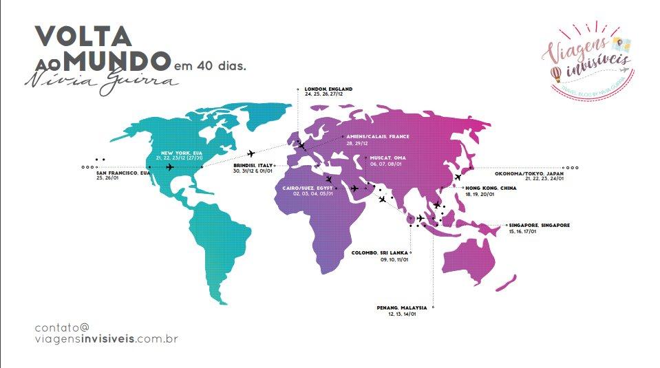 O roteiro de viagem da volta ao mundo em 40 dais. . Conheça o blogue Viagens Invisíveis. https://www.viagensinvisiveis.com.br/a-volta-ao-mundo-pelos-passos-de-nellie-bly.html… . . . . . ⠀ . #viagensinvisiveis #sourbbv #missaovt #nelliebly #40anos #voltaaomundo #projetovoltaaomundo #projetovoltaaomundoem40diaspic.twitter.com/3M2bWpnMPu