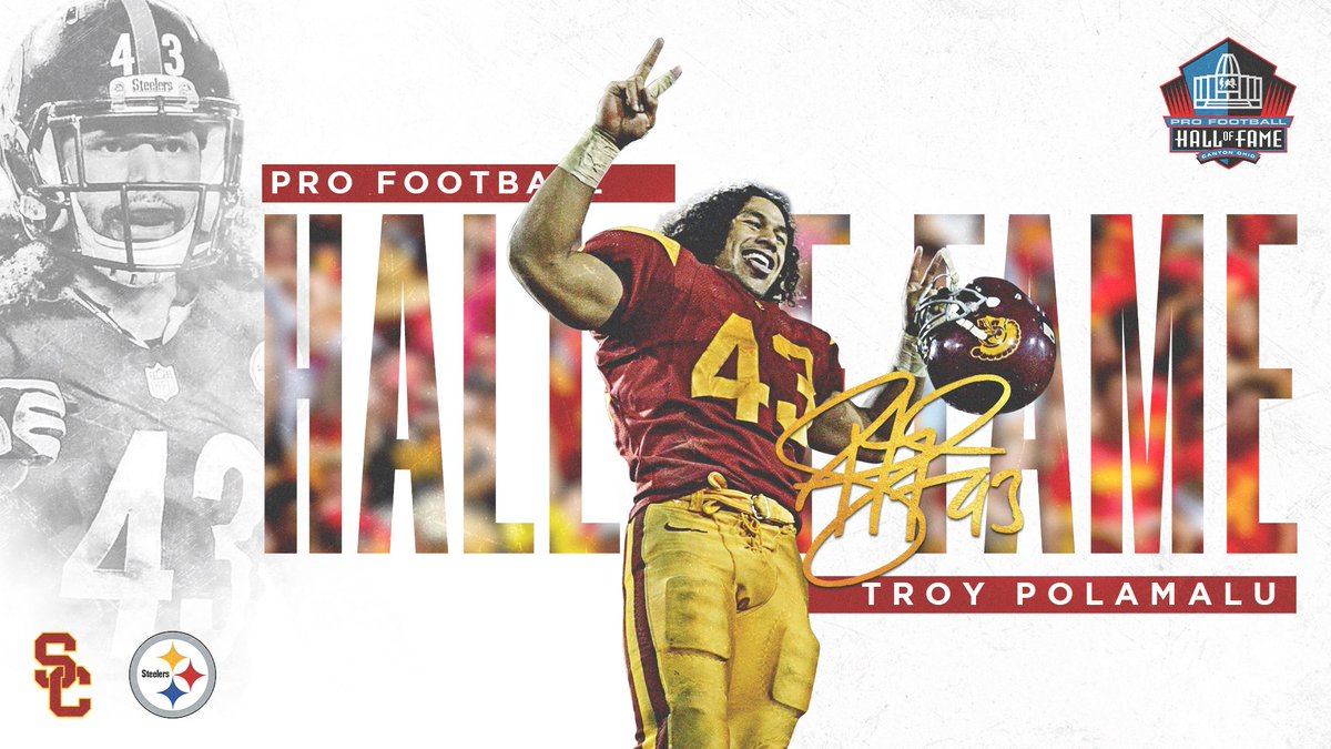 Congratulations to @tpolamalu on being inducted into the Pro Football Hall of Fame on the first ballot!  The two-time All-American went on to win two Super Bowls during his legendary NFL career.  #FightOn   #USCtotheHOF https://t.co/wKDm5gTQjY