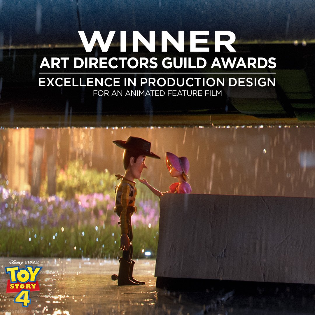 Congratulations to #ToyStory4 for winning the Art Directors Guild Award for Excellence in Production Design for an Animated Feature Film. #ADGAwards https://t.co/H3lx5DE84l