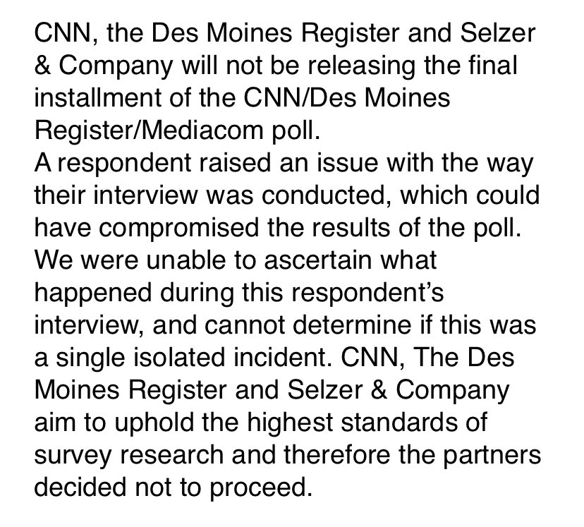 Statement on the final installment of the CNN/Des Moines Register/Mediacom poll: