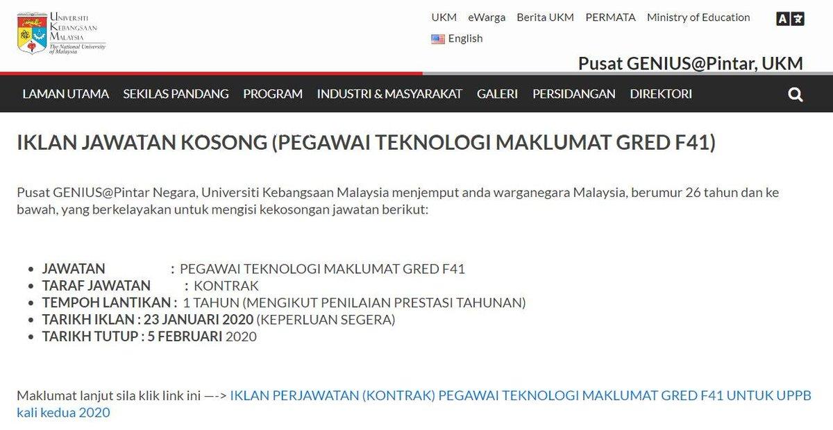 Info Kerja 2020 A Twitter Nama Majikan Universiti Kebangsaan Malaysia Lokasi Kekosongan Selangor Tarikh Tutup Permohonan 05 Februari 2020 1 Pegawai Teknologi Maklumat Untuk Memohon Https T Co Jb8x2hpzxs Https T Co Woooegb0l6