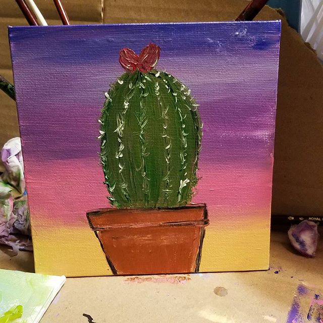 Much needed paint time. Its good therapy. Sometimes i just need to sit and paint.  #Artist  #momartist  #cactushttps://www.instagram.com/p/B8DQppElonM/ pic.twitter.com/jpHBF47g6E