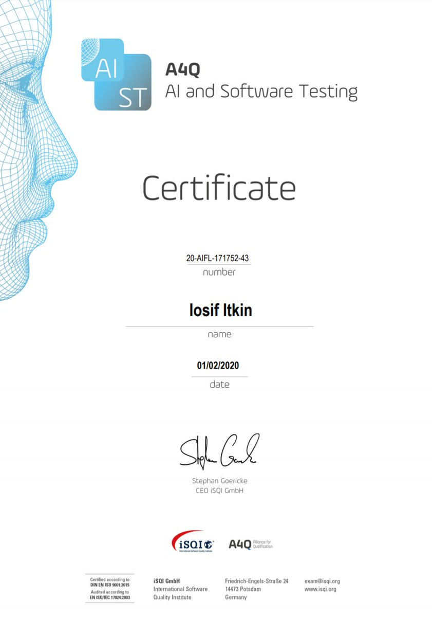 Iosif Itkin On Twitter Join Geostqb Georgian Software Testing Qualifications Board Meetup On 5th February In Tbilisi I Am Going To Share Some Thoughts About A New Certification Exam A4q Ai