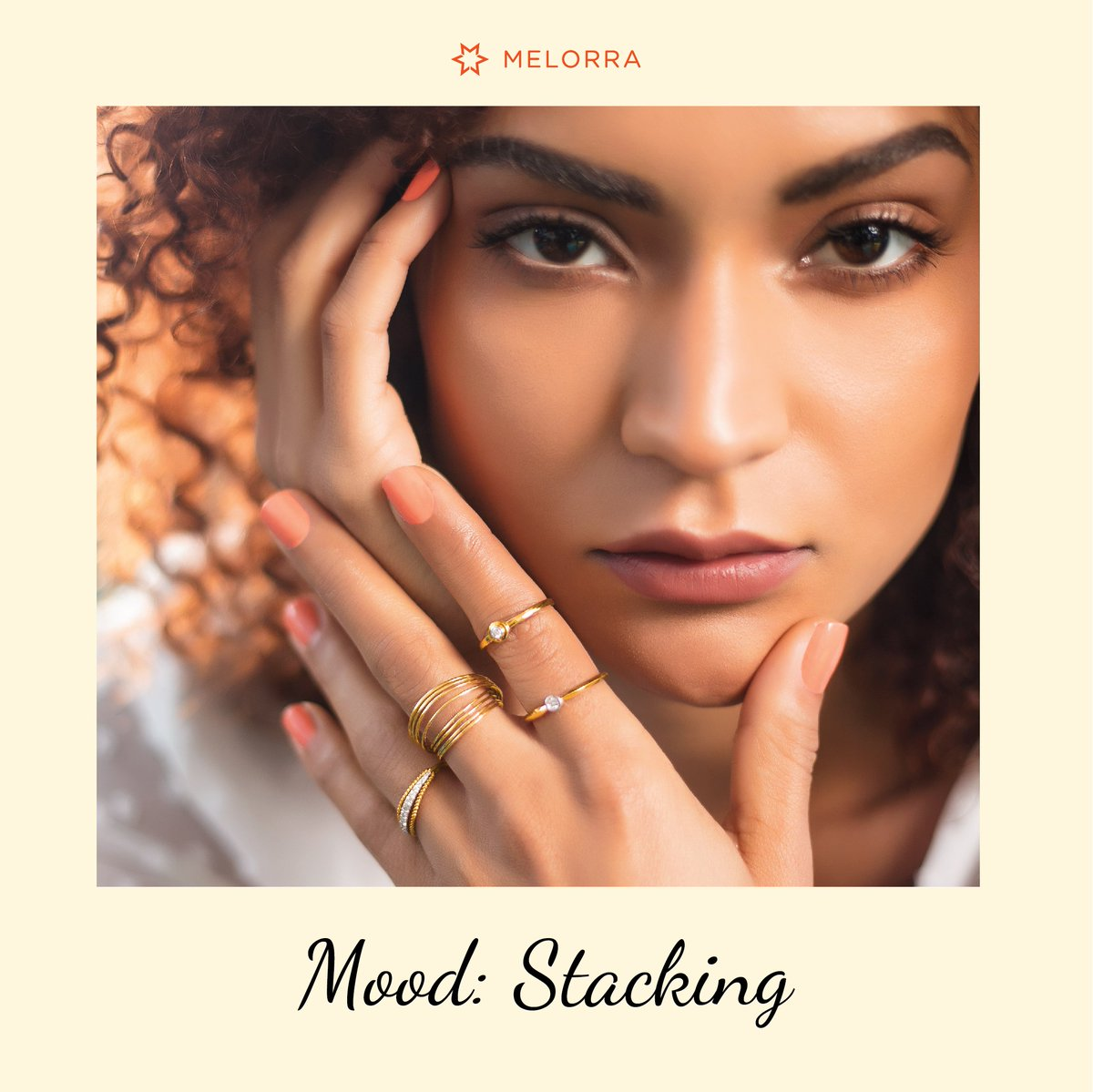 Look stylish with a ring stack! 😍  Explore over 1800 ring designs that you can effortlessly experiment for stacking >   #Melorra #EverydayFineJewellery #AffordableGold #GoldRings #RingStacking #RingStyles