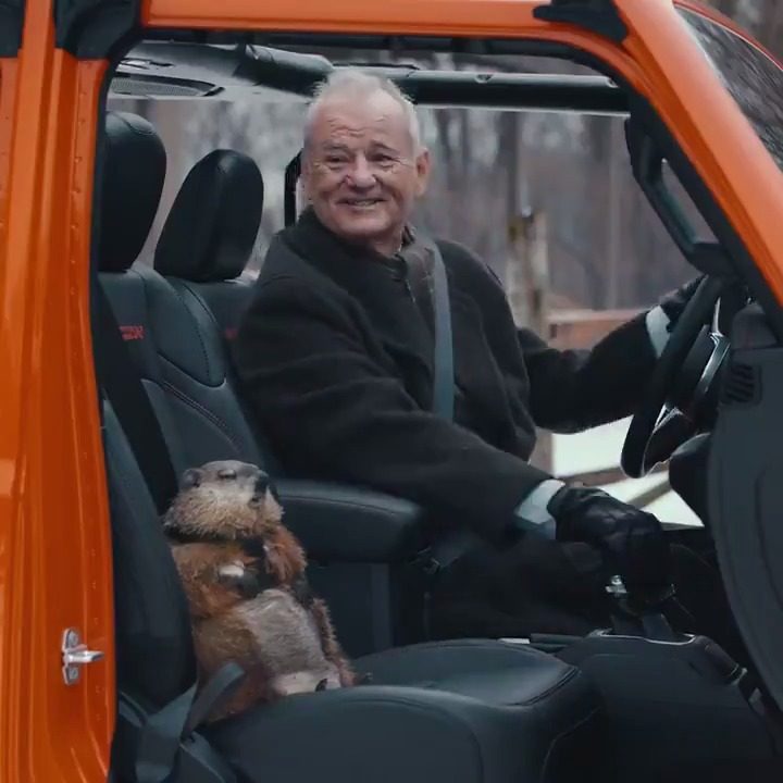 """Today isn't just Game Day. It's Groundhog Day. Watch Bill Murray in the Jeep """"Groundhog Day"""" commercial featuring the 2020 Jeep Gladiator. #JeepGroundhogDay"""
