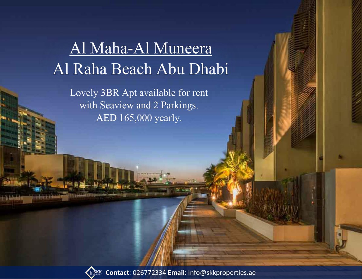Brilliant opportunity to lease an immaculate 3 Bedroom + Maid Apartment in Maha 1, Al Muneera Island. For viewing please contact.  Contact: 026772334 Email: info@skkproperties.ae  #abudhabi #Properties #Apartments #Spaciousrooms #Good #Community #niceview #maidroom #skkproperties https://t.co/H9GYpCBQ5h
