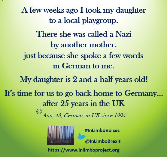 #InLimboVoices- when they are exposed to this toxic language long enough, they will eventually question if this is still the place where they want to raise their children...  @BrexpatsHOV #YellowRose